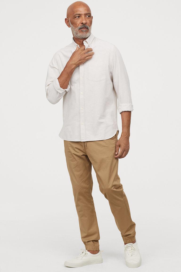 Boca Classics Mens Palm Print Simply Perfect Shirt Medium Natural Beige//Blue