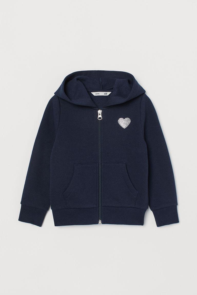 New Next Baby Girls Light Grey Blue Flower Print Zipped Hooded Jacket
